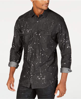 INC International Concepts I.n.c. Men's Gray Denim Paint Splatter Shirt