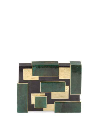 Rafe Ramya Cubist Minaudiere, Green/Black/Gold