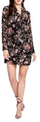 Rachel Roy Tie Neck Printed Chiffon Shift Dress