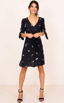 Showpo Make Me Fly dress in black print