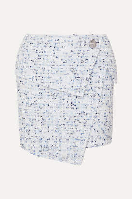Balmain Wrap-effect Button-embellished Metallic Tweed Mini Skirt - Blue