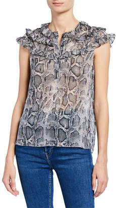 Rebecca Taylor Snake-Print Button-Front Cap-Sleeve Ruffle Top