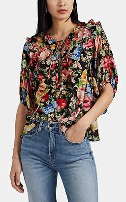 Icons Objects of Devotion Women's Femme Ruffle-Trimmed Floral Lace-Up Blouse - Black