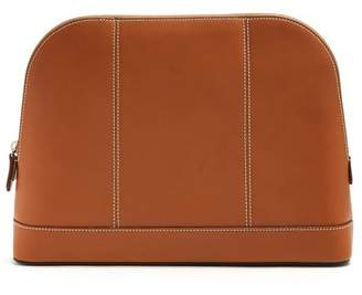 Connolly - Top Stitch Detail Leather Washbag - Mens - Tan