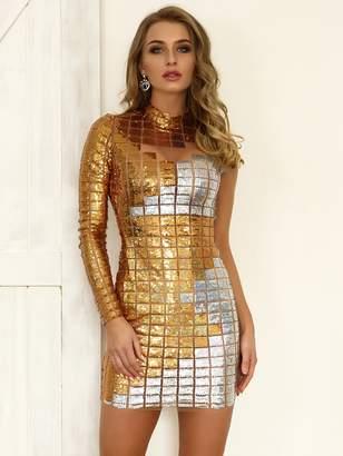 Shein Joyfunear Two-tone Sequin Patched Mesh Form Fitting Dress