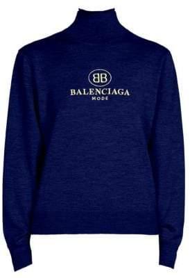 Balenciaga Mini BB Wool Turtleneck Sweater