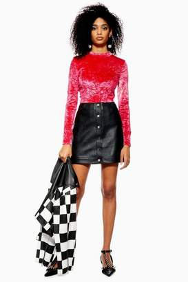 Topshop Petite Popper PU Mini Skirt