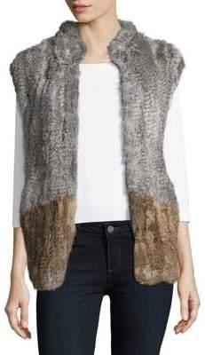 Surell Colorblock Rabbit Fur Vest