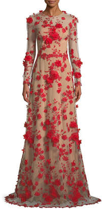 David Meister Two-Tone 3D Floral Trumpet Gown