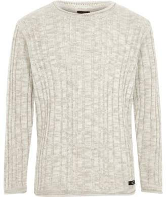 River Island Boys grey rib rolled crew neck sweater
