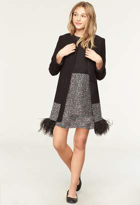 Milly Minis MillyMilly Doubleface Wool Feather Hem Coat