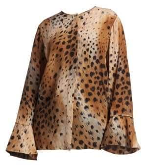 Lafayette 148 New York Lafayette 148 New York, Plus Size Izzie Leopard Print Silk Blouse
