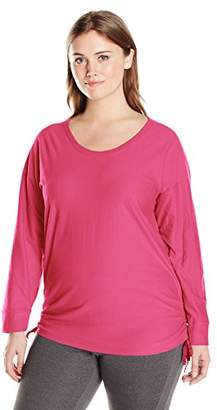Just My Size Women's Plus-Size Shadow Stripe Tunic with Side Ties