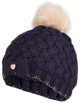 Baker by Ted Baker - Girls' Navy Knitted Faux Fur Pom Pom Hat