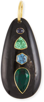 Ashley Pittman Dark Horn & Blue/Green Stone Pendant