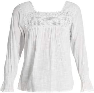 Masscob Crochet-trimmed cotton-gauze top