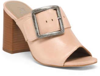 Stacked Heel Leather Peep Toe Mules