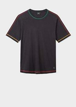 39c823cdd Men's Black Cotton T-Shirt With Multi-Colour Stitched Seams