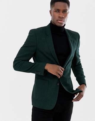 Asos DESIGN skinny blazer in green wool mix