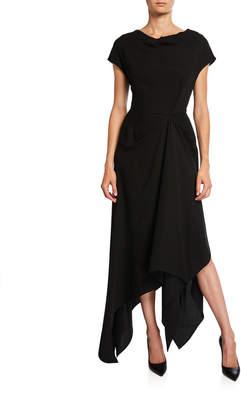 Co Draped Crepe Wide-Neck Dress
