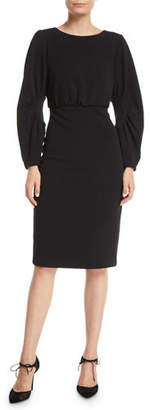 Badgley Mischka Ruched Long-Sleeve Sheath Dress