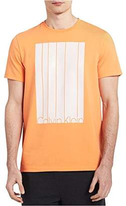 Calvin Klein Men's Box Stripe Logo Crew Neck T-Shirt