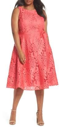 Tahari Palm Leaf Chemical Lace A-Line Dress