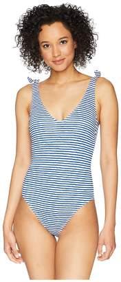 Lauren Ralph Lauren Painterly Stripe Lace Back One-Piece Women's Swimsuits One Piece