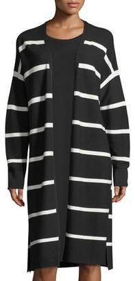Lafayette 148 New York Matte Crepe Long Striped Cardigan, Plus Size
