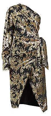 Altuzarra Women's Chanda Metallic Foil One-Shoulder Silk-Blend Dress