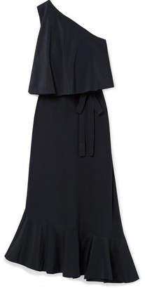 Stella McCartney Asymmetric One-shoulder Silk Crepe De Chine Midi Dress - Navy