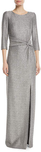 St. John Collection Glamour Sequin Knotted-Waist Gown