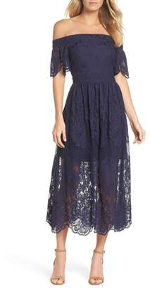 Vince Camuto Off the Shoulder Lace Midi Dress