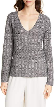 Eileen Fisher V-Neck Silk & Organic Linen Sweater