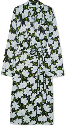 Off-White Appliquéd Floral-print Satin Wrap Dress - Dark green