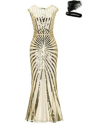 General Formal Evening Dress 1920s Sequin Mermaid Maxi Long Flapper Gown Party (Black/Pink, XL)