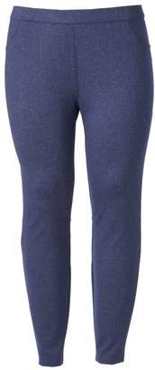 Lauren Conrad Plus Size Herringbone Pull-On Ponte Leggings