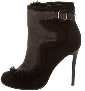 Thakoon Shearling-Accented Ankle Boots