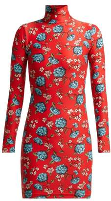 Vetements Floral Print Stretch Jersey Mini Dress - Womens - Red Multi