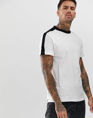 New Look ringer t-shirt with sleeve stripe in white