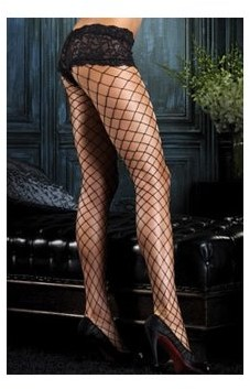 Fence Net Pantyhose with Boyshort Top 1278 Black,Red