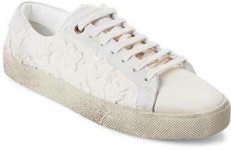 Saint Laurent Beige Court Classic Star-Applique Low-Top Sneakers