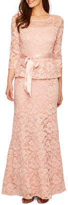 Chetta B BE BY Be by 3/4 Sleeve Peplum Lace Gown