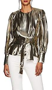 LES COYOTES DE PARIS Women's Kara Silk-Blend Lamé Peplum Blouse - Gold