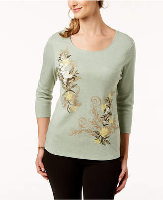 Karen Scott Petite Floral-Embroidered Top