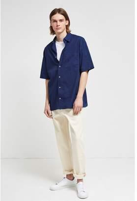 French Connection Indigo Overwashed Short Sleeve Shirt