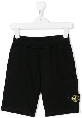 Stone Island Junior logo patch casual shorts