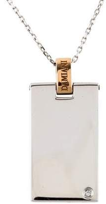 Damiani 18k Diamond Dog Tag Pendant Necklace