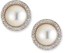 BELPEARL 18k White Gold Pearl-Stud Diamond-Halo Earrings