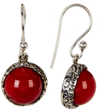 Exex Design Jewelry Sterling Silver Belleair Beach Red Coral Earrings